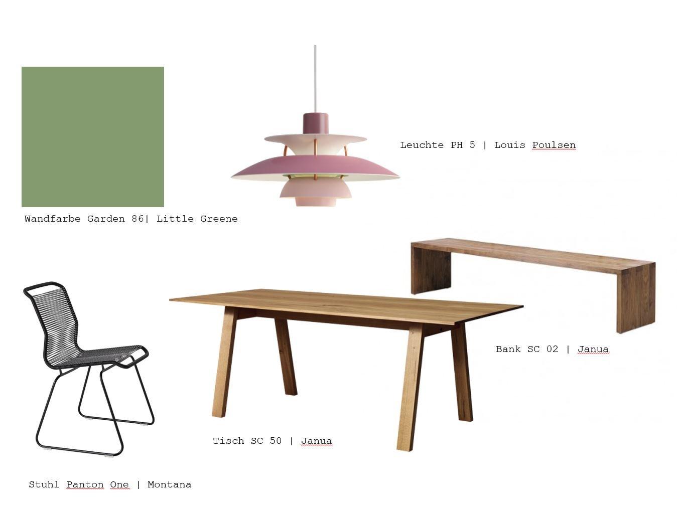 Auszug aus einem Moodboard des Inneneinrichtungskonzeptes für ein Reihenhaus. Ein Interior Design Projekt von Malchow Interior Design.