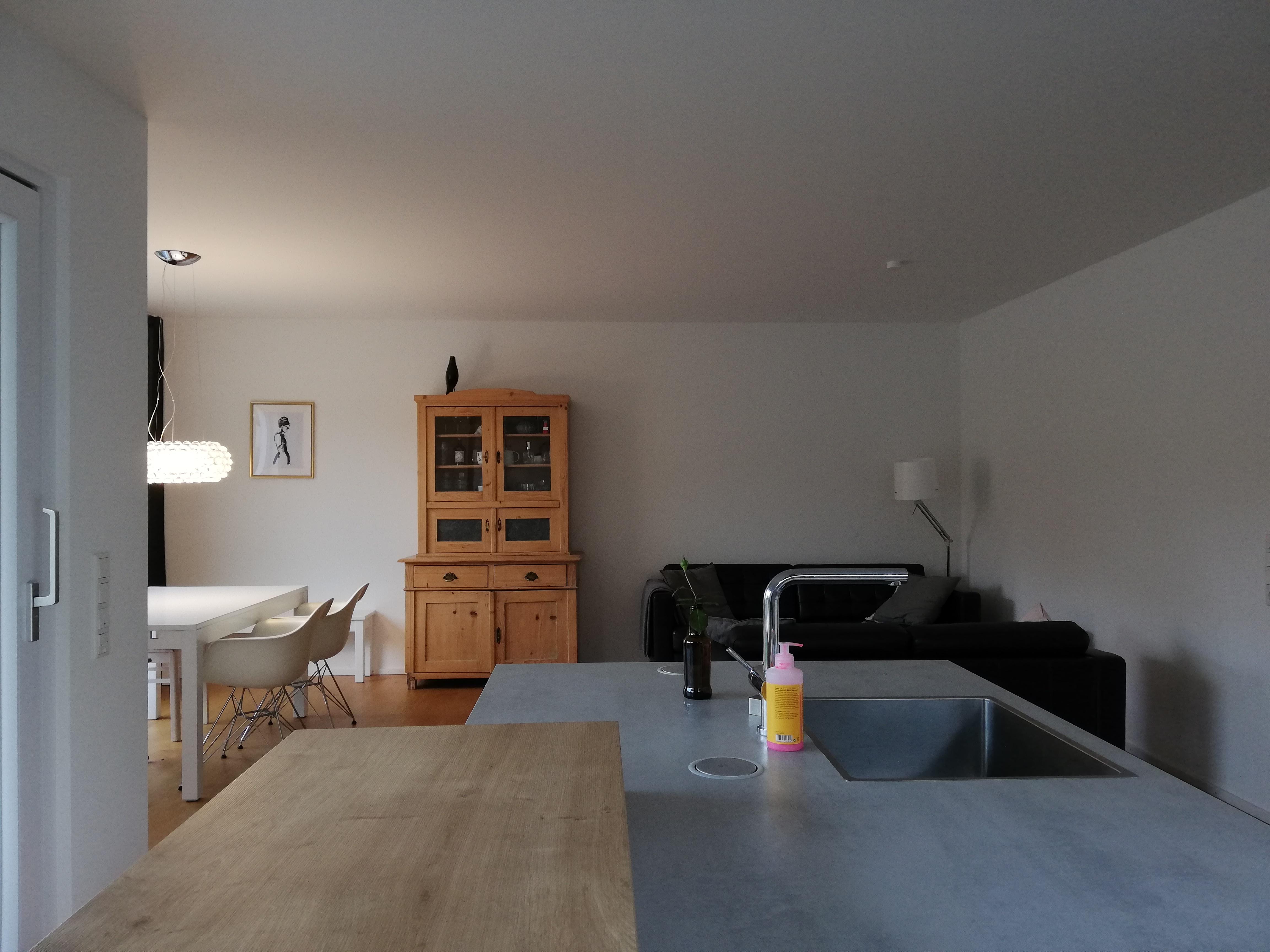 Vor der Einrichtungsberatung wirkt der Wohn- und Essbereich kalt und nicht wohnlich.